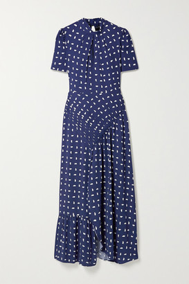 Self-Portrait Ruched Printed Crepe Midi Dress - Navy