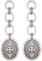 Freida Rothman Long Hammered CZ Accent Clover Shield Drop Earrings