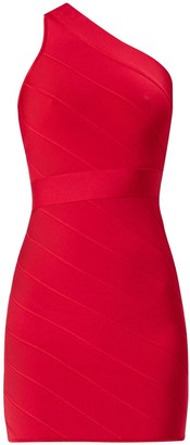 Herve Leger Icon One Shoulder Bandage Mini Dress