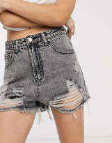 Signature 8 high waisted ripped shorts in gray