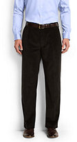 Lands' End Men's Traditional Fit Pleat Front 10-wale Corduroy Trousers-Light Beige