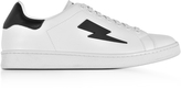 Neil Barrett White and Black Leather Thunderbolt Tennis Sneakers