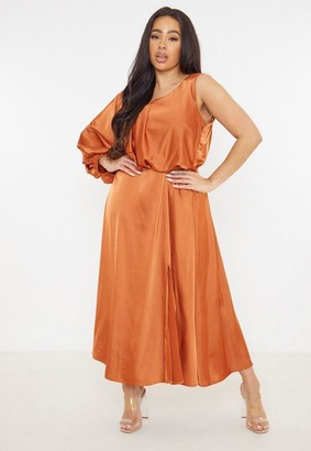 Missguided Plus Size Rust Satin One Sleeve Midi Dress