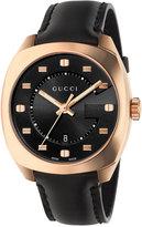 Gucci Men's Swiss GG2570 Black Leather Strap Watch 41mm YA142309