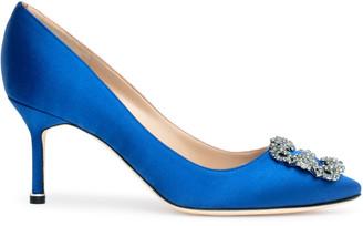 Manolo Blahnik Hangisi 70 Royal blue satin pumps