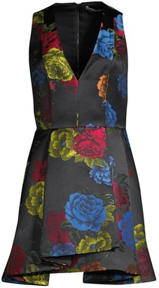 Alice + Olivia Tanner Asymmetric Floral Mini A-Line Dress