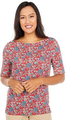 Lauren Ralph Lauren Floral Cotton Blend Top (Red Multi) Women's Clothing