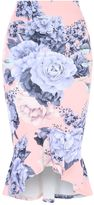 Jane Norman Print Trumpet Hem Skirt