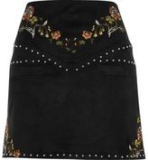 River Island Womens Black embroidered floral and stud mini skirt