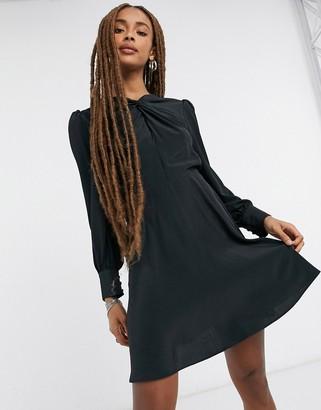 Topshop twist neck mini dress in black