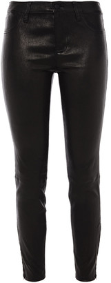 L'Agence Cropped Stretch-leather Leggings