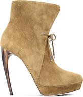 Alexander McQueen Horn suede heeled ankle boots