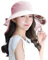 Siggi Womens Wide Brim Summer Sun Flap Cap Hat Neck Cover Cord Cotton UPF 50+ Pink