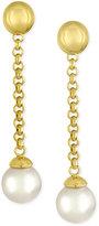 Majorica Gold-Tone Imitation Pearl Linear Drop Earrings