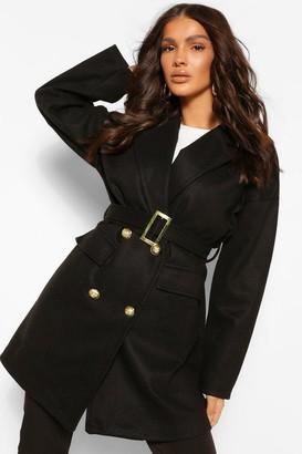 boohoo Military Detail Belted Wool Look Coat