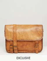 Reclaimed Vintage Inspired Leather Messenger Bag In Brown