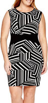 Bisou Bisou Sleeveless Graphic Colorblock Sheath Dress - Plus