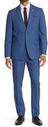 Ben Sherman Blue Sharkskin Slim Fit 2-Piece Suit