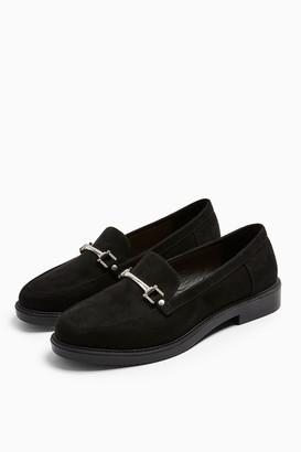 Topshop Womens Logan Black Loafers - Black