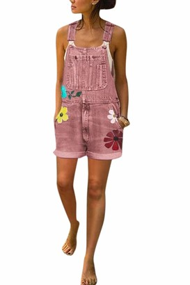 Zilcremo Women Denim Bib Overalls Adjustable Straps Cuffed Hem Shortalls Jumpsuits Pink XXL