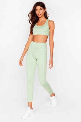 Nasty Gal Womens Pocket With the Program Workout Leggings - Black - S