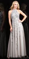 Scala High Collar Fully Beaded A-line Evening Dress