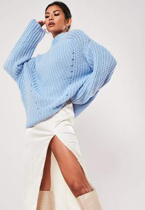 Missguided Blue Chunky Knitted High Neck Jumper