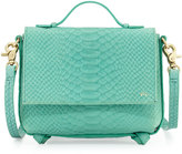 Foley + Corinna Gigi Snake-Embossed Leather Flap Crossbody Bag, Jade