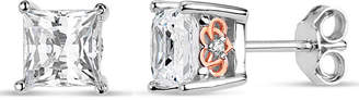Swarovski FINE JEWELRY Sterling Silver Two-Tone Square Filligree Sides Stud Earrings featuring Zirconia