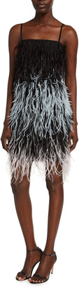 Monique Lhuillier Embroidered Feather Mini Slip Dress