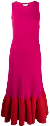 Alexander McQueen two-tone sleeveless pleated dress