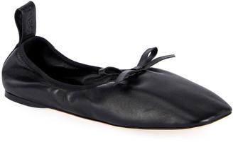 Loewe Soft Napa Bow Ballet Flats, Black