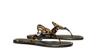 Tory Burch Miller Metal-Logo Sandal, Printed Patent Leather