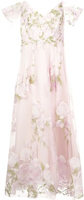 Marchesa Off-Shoulder Floral Embroidered Gown