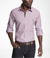 Express Striped Fitted Contrast Detail Shirt
