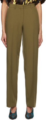 Dries Van Noten Brown Cropped Pulley Trousers