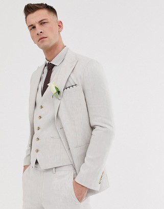 Moss Bros slim suit jacket in beige linen with stretch