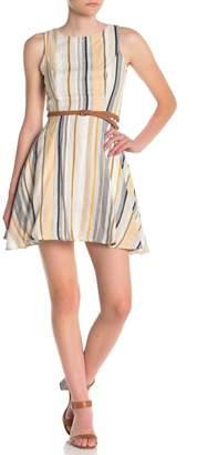 BAILEY BLUE Striped Braided Belt Dress