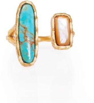 Christina Greene Deco Twin Stone Ring In Turquoise & Pearl