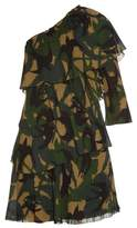 Sonia Rykiel Swallow camouflage-print one-shoulder dress
