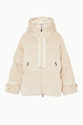 Moncler Hooded Quilted Corduroy Down Jacket - White