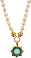 Susan Shaw Women's Necklaces Aqua - Cultured Pearl & Aqua Venetian Glass Pendant Necklace