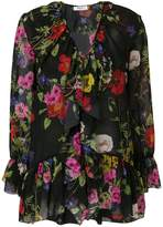Blugirl floral ruffled wrap blouse