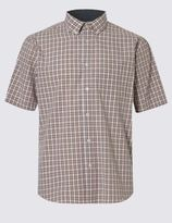 Marks and Spencer Pure Cotton Short Sleeve Checked Shirt