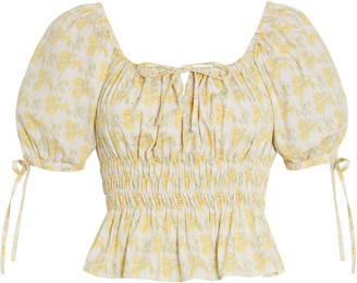 Faithfull The Brand Edna Dahlee Floral Print Cotton Poplin Top