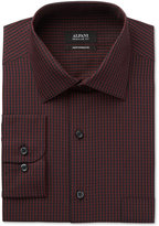Alfani Men's Classic-Fit Performance Big and Tall Burgundy Small Gingham Dress Shirt, Only at Macy's