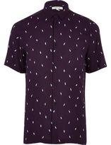 River Island MensPurple lightning print casual shirt