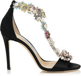Jimmy Choo REIGN 100 Black Satin Sandals with Camellia Mix Anklet