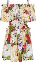 Dolce & Gabbana Off-The-Shoulder Floral-Print Cotton Mini Dress