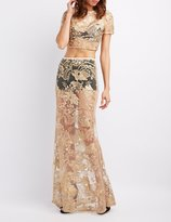 Charlotte Russe Embroidered Mesh Strapless Maxi Dress
